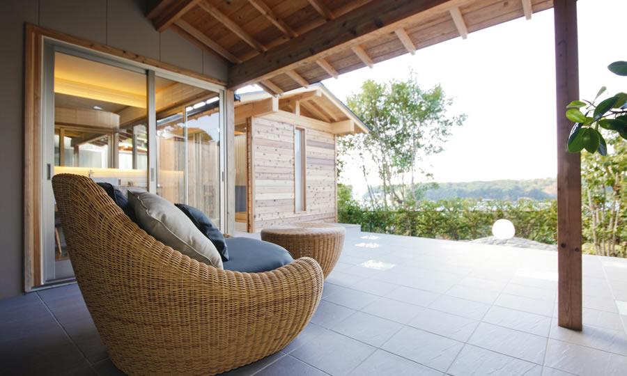 外部への広がり、つながりを配慮した客室